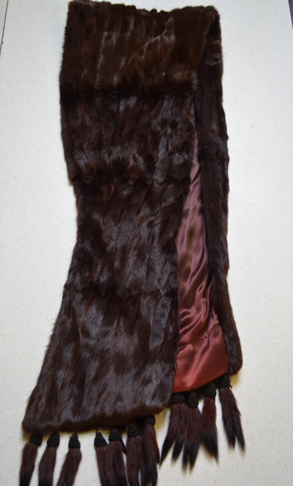 Fur evening stole, collar and mink hat