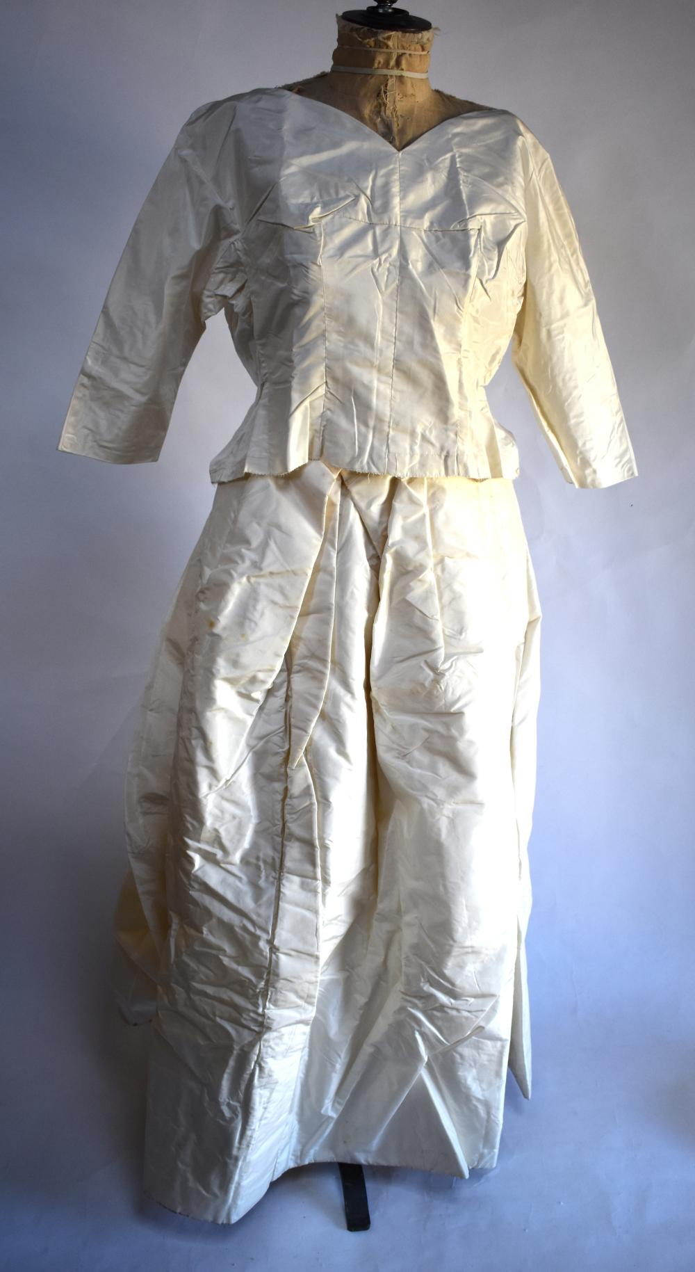 Vintage ivory silk taffeta wedding top and skirt