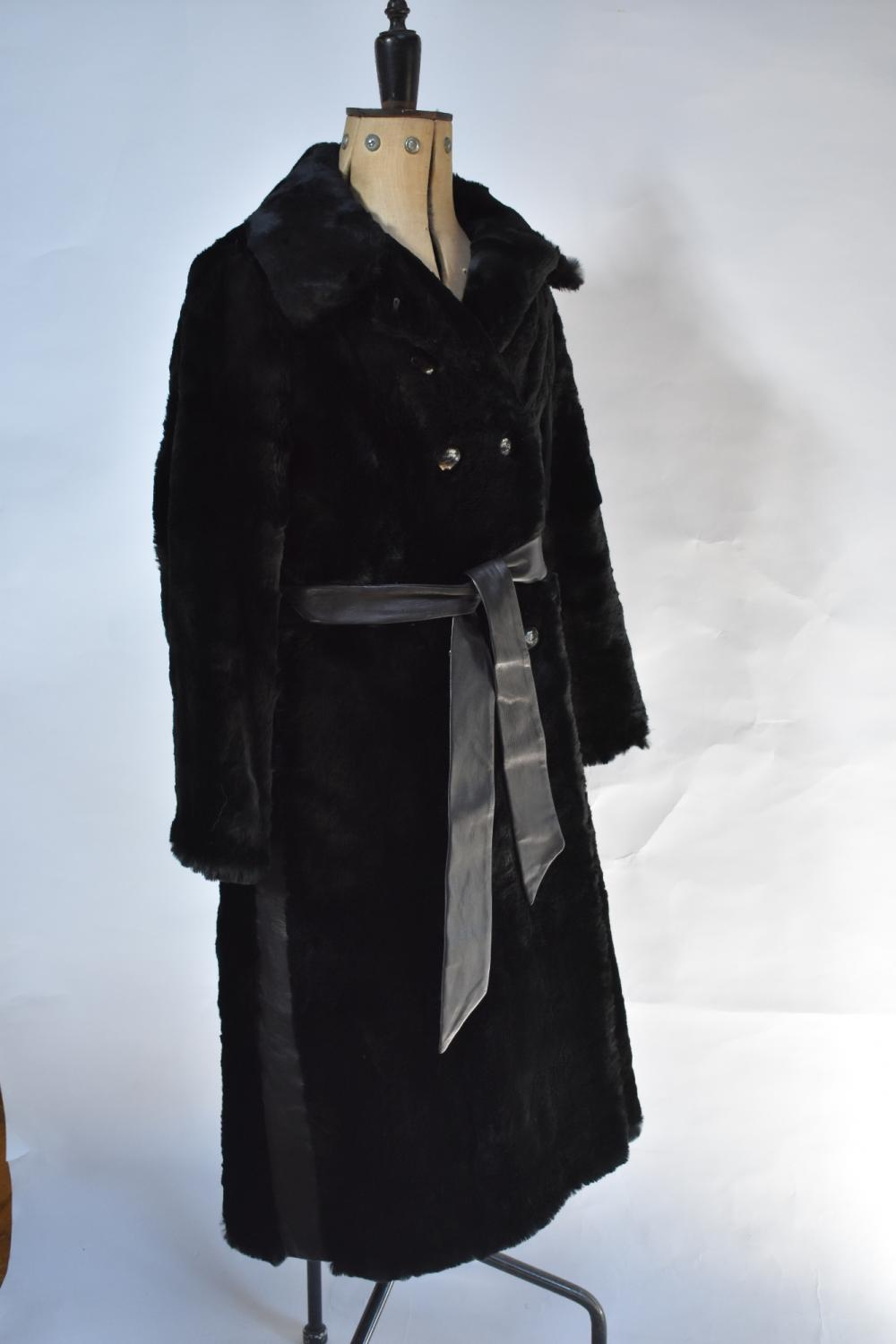Lady's black shearling fur coat