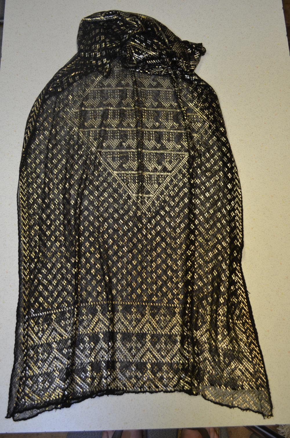 Egyptian assuit silver and net shawl