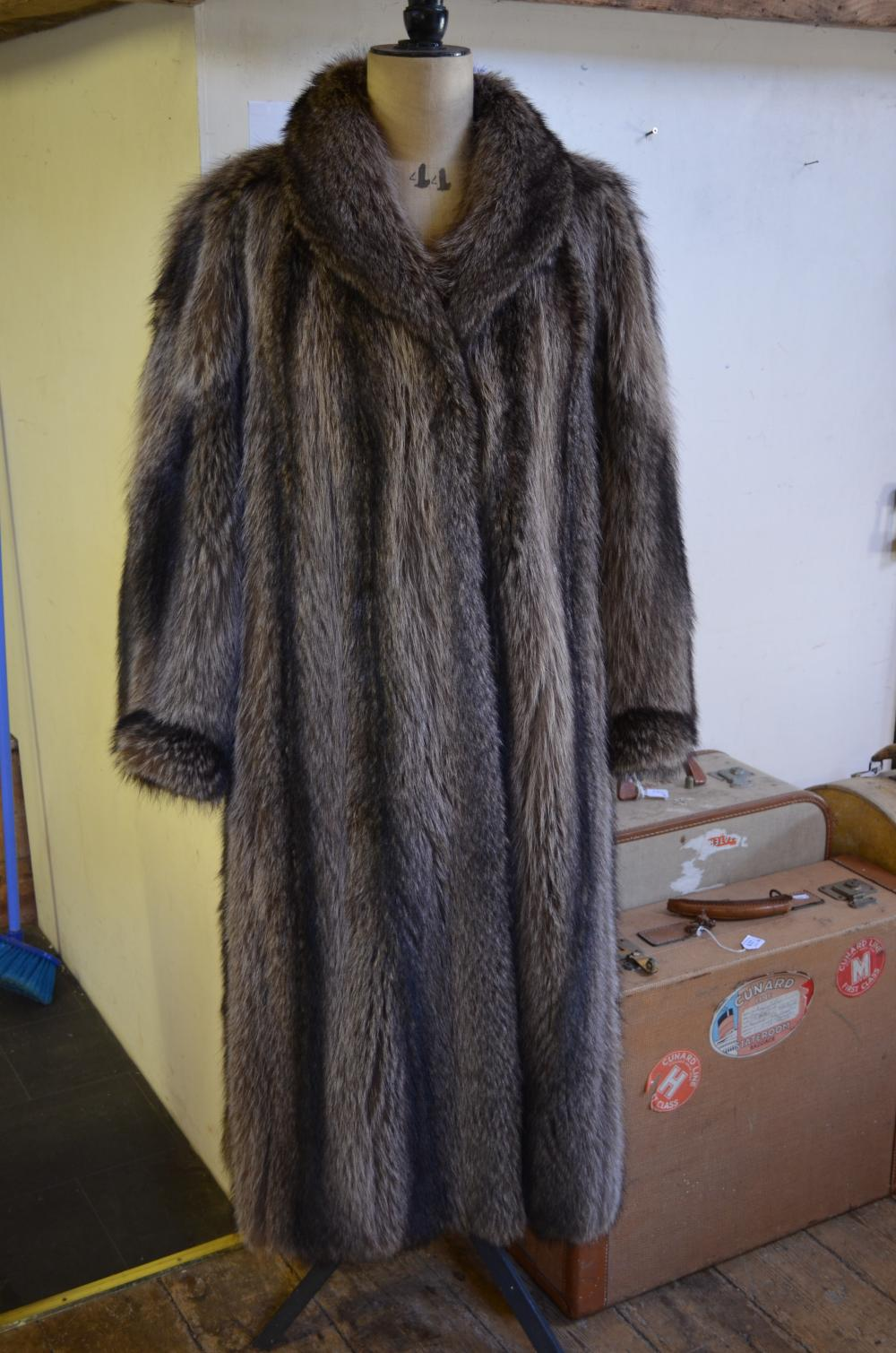 Raccoon fur lady's coat