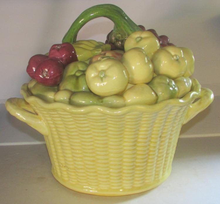 Gorgeous Rare Huge Basket Of Fruit Cookie Jar