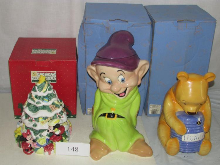 3 Cookie Jars Disney Snow White Winnie The Pooh