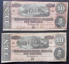 (2) 1864 Confederate $10 Ten Dollar Notes XF
