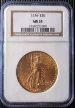1924 St. Gaudens Double Eagle $20 Gold NGC MS63