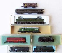 Lot of (8) N-Scale Locomotives & Train Cars