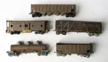 Lot of (5) O-Scale Brass Train Freight Cars
