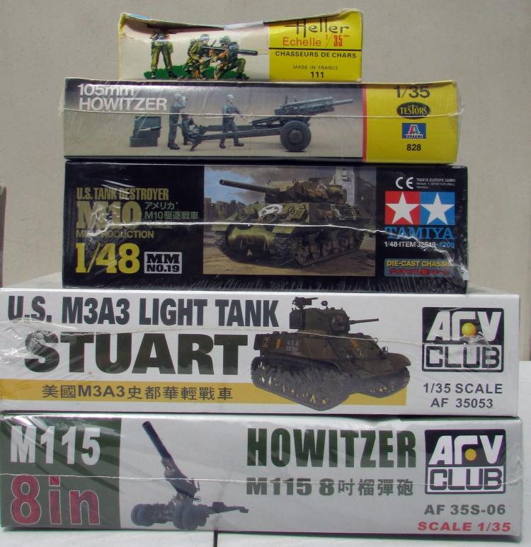 14) assorted Military Model Tank Kits & Accessories