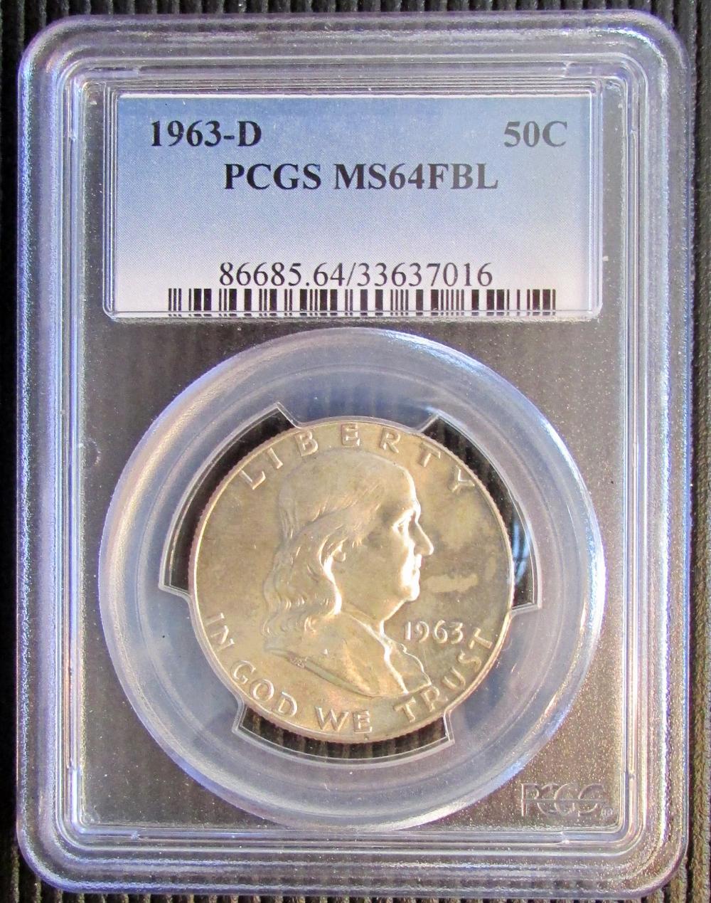 franklin half dollar 1963 PCGS MS64