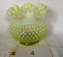 Fenton Hobnail Opalescent Vaseline Vase
