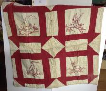 Crib Quilt with Bird Embroidery