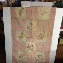 Crib Quilt Embroidered w People Animals