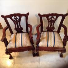 Pair of Reproduction Ball & Claw Arm Chairs