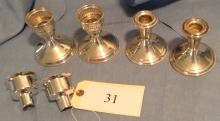 2 Pairs Sterling Weighed Candlesticks
