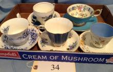 5 China Cups and Saucer Sets