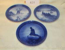 3 Signed Royal Copenhagen Denmark Plates