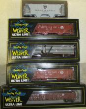 Lot of (5) Weaver Pennsylvania 2-Rail / O-Scale Train Cars In Boxes