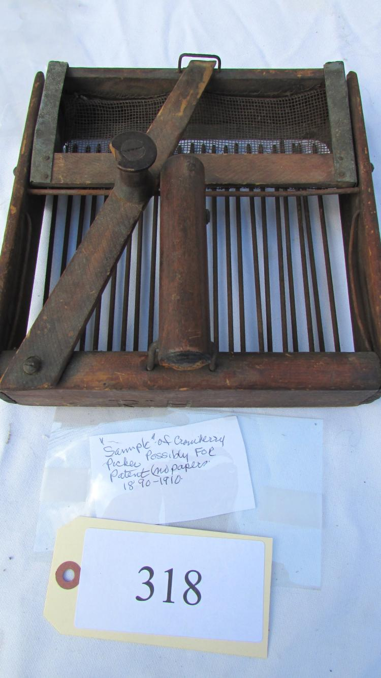1890 1910 wood metal cranberry picker invention for Home decor 1910