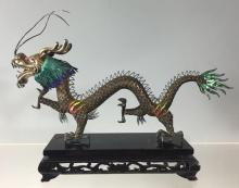 Chinese Silver and Enamel Dragon