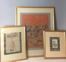 Three Chinese Silk Framed Embroidery