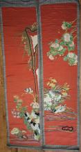 Pair of 19th Century Chinese Silk Embroidery