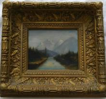 'Antique oil on canvas landscape painting in original gilded frame