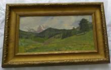 Antique oil landscape painting