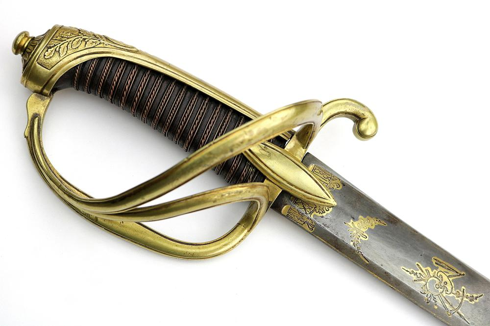 Attractive French Napoleonic era Officer's Sword with Fine Engraved and Gold Gilt Blade & Hilt