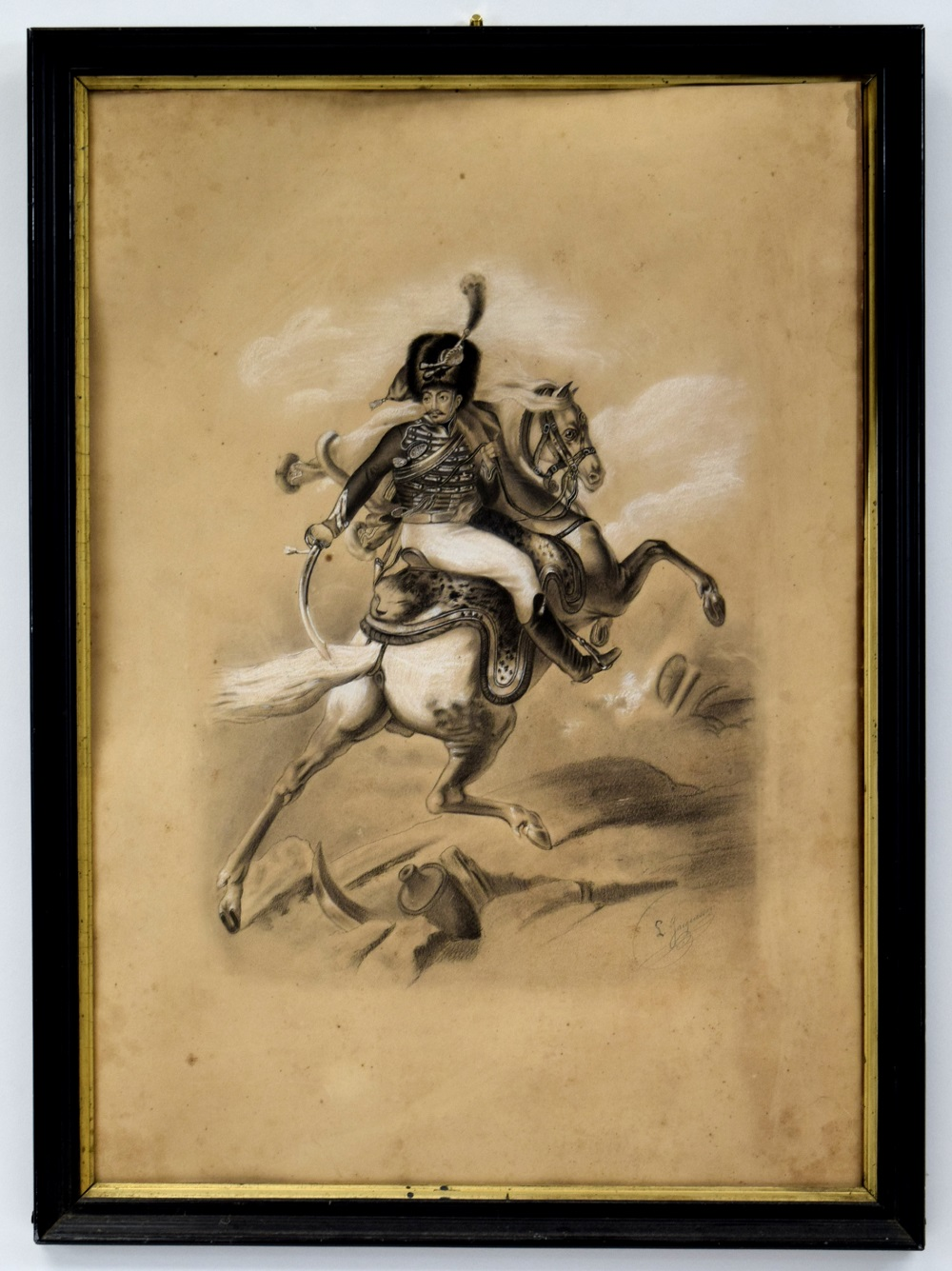 Early 19th C. Charcoal Painting of French Napoleonic Mounted Hussar with a Sword. Artist Signed