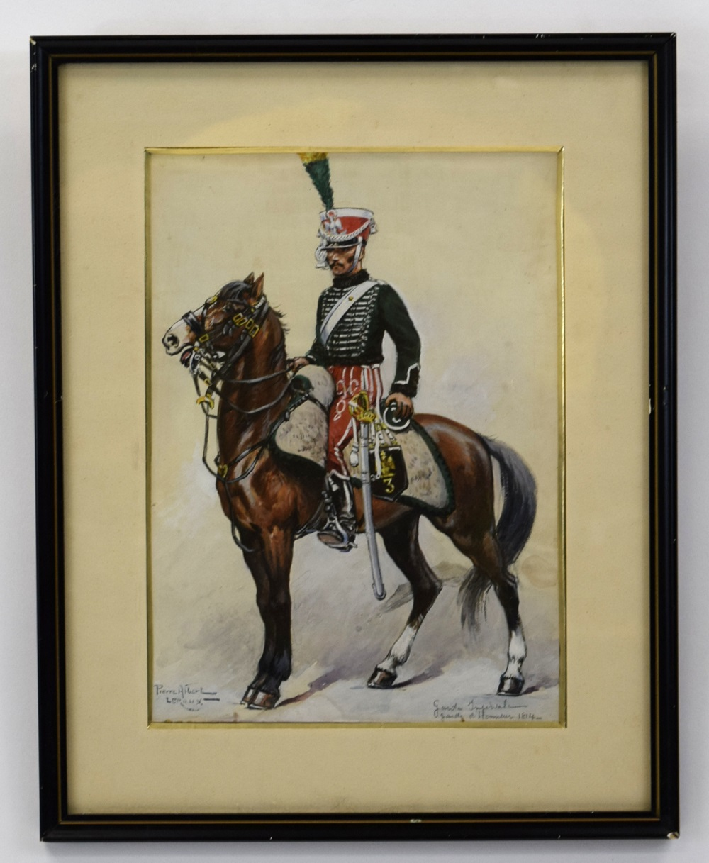 Dated 1814 Signed Oil & Watercolor Painting of French Napoleonic Mounted Officer with a Sword
