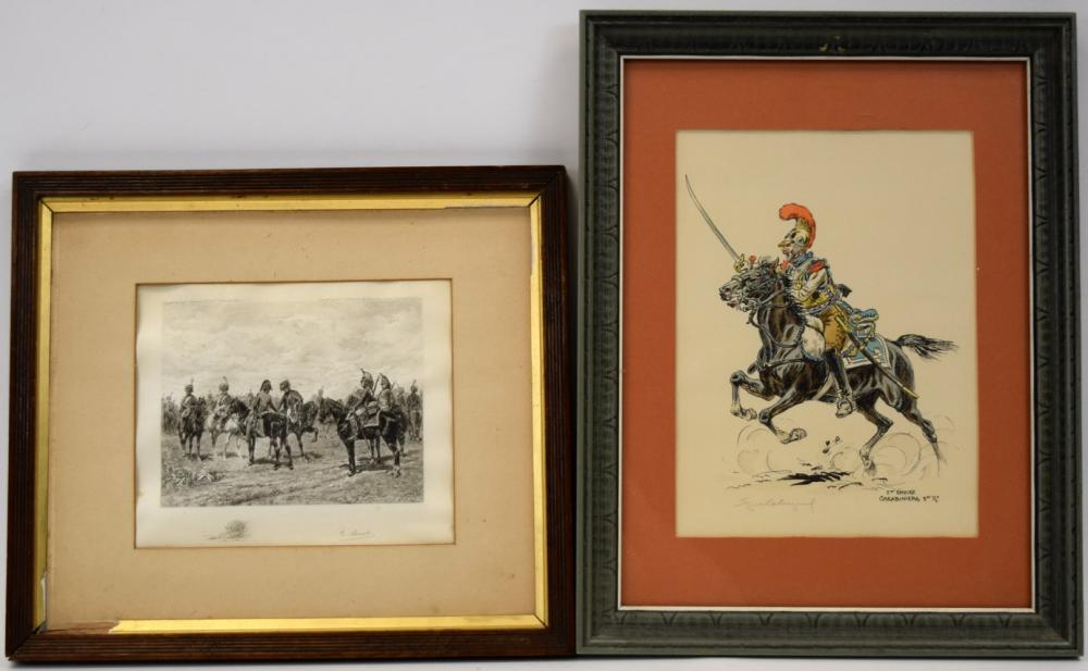 Water Color Painting of French 1st Empire Carabinier with Sword + Lithograph of Napoleonic Soldiers