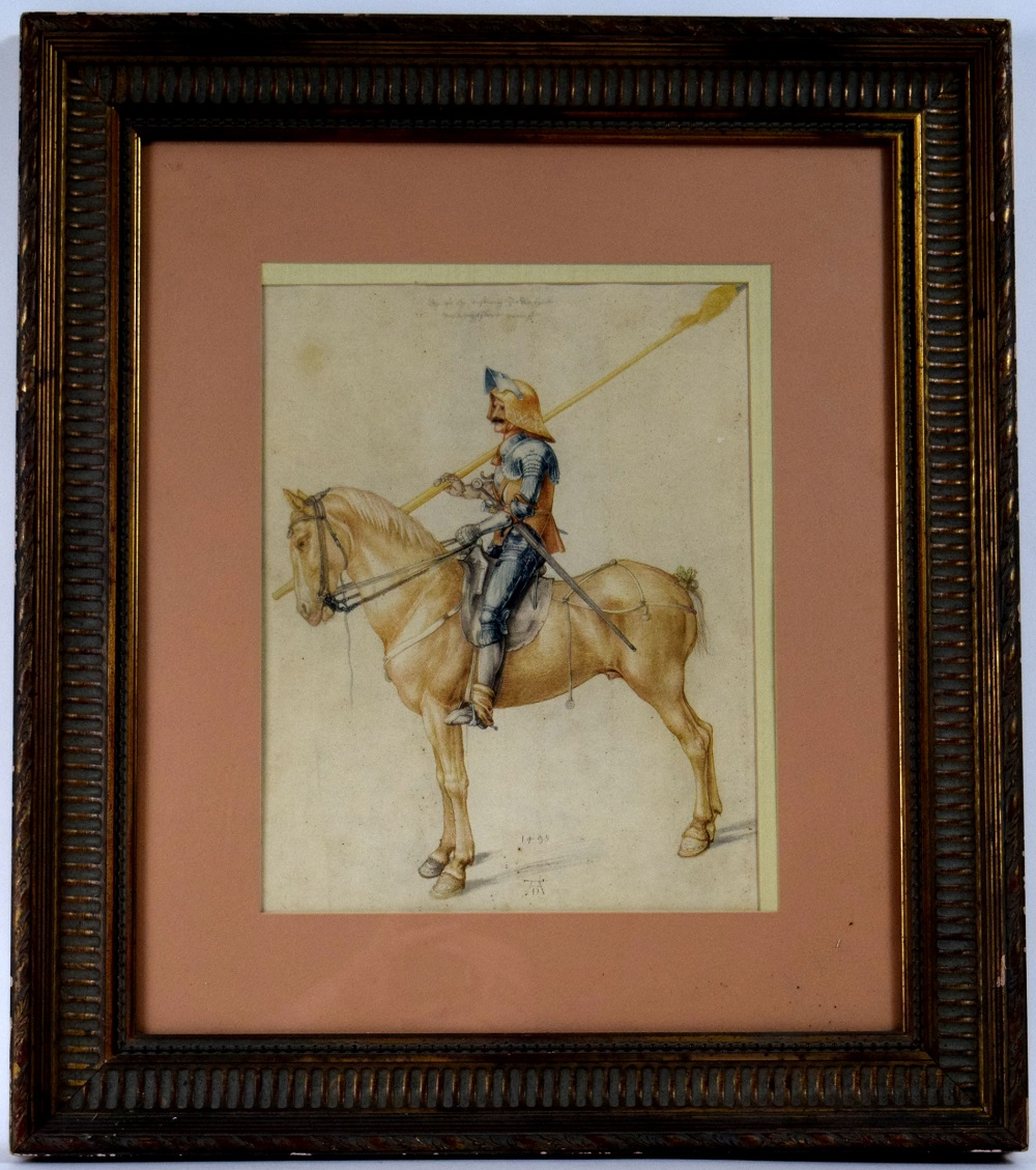 19th C. Watercolor Painting of Gothic 1498 Landsnecht Warrior/Soldier in Armor with a Bastard Sword & Sallet Helmet, Signed