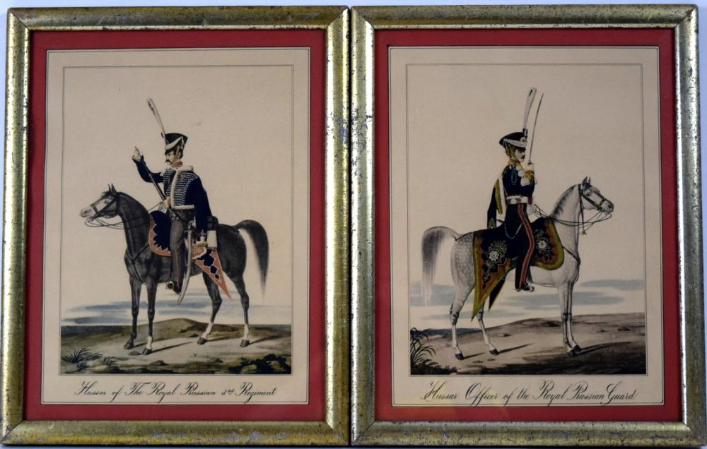 Lot of two 19th C. Hand Colored Lithographs of German Prussian Hussar Officers with Swords
