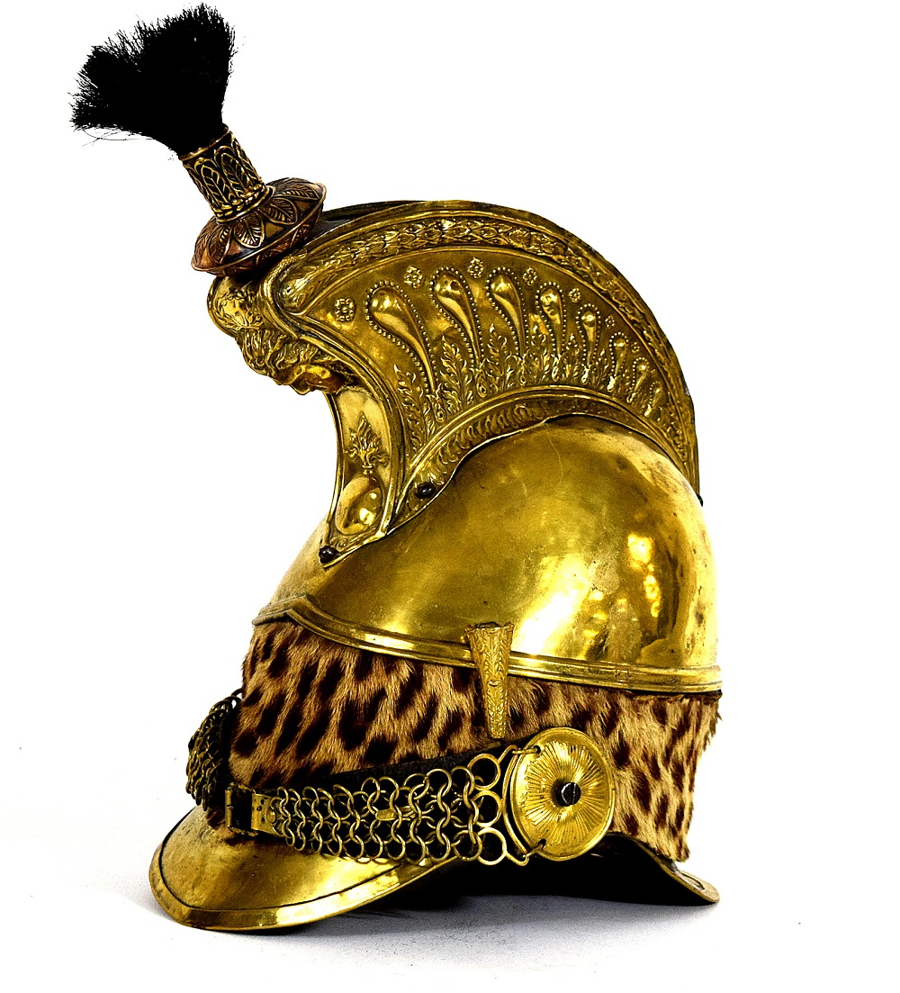 """French Napoleonic era or Later """"9th Dragoon"""" Officer's Helmet, Regiment Marked"""