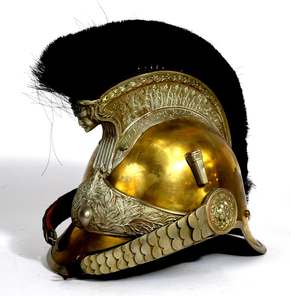 """19th C. French Dragoon or Cuirassier Helmet, Marked """"A"""" on chinstraps"""