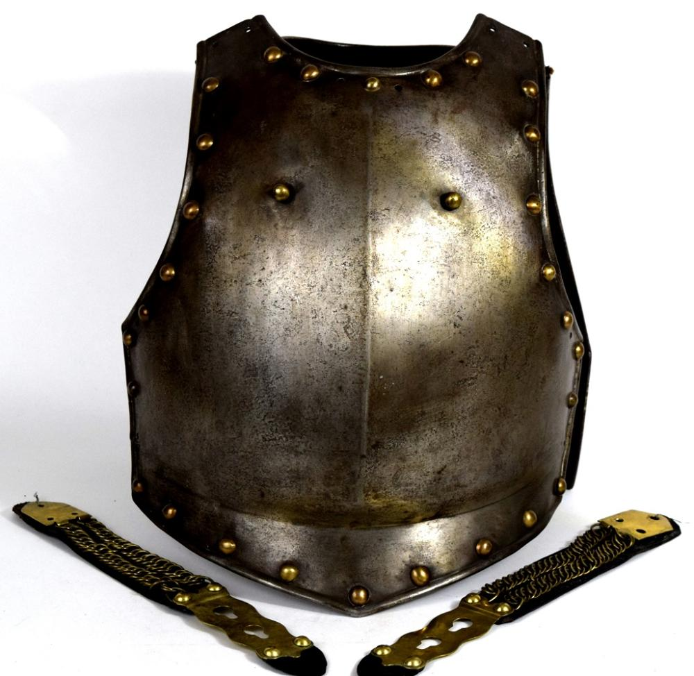 French Napoleonic era Cuirassier's or Carbonier's Cuirass Armor with Frequent Brass Rivets