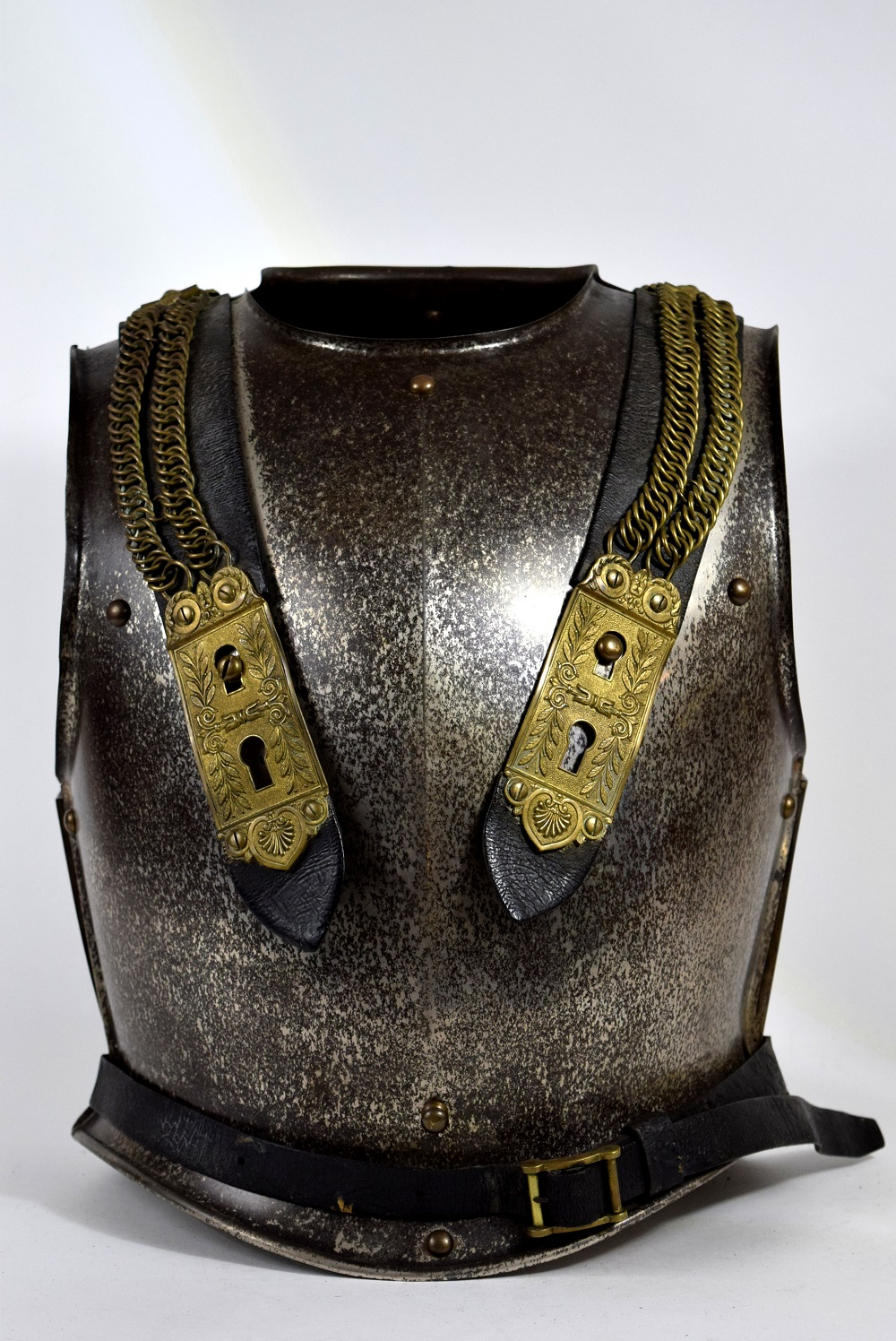 Nice Complete 19th C. French Cuirassier or Dragoon Officer's Cuirass Armor, Maker Marked & Numbered