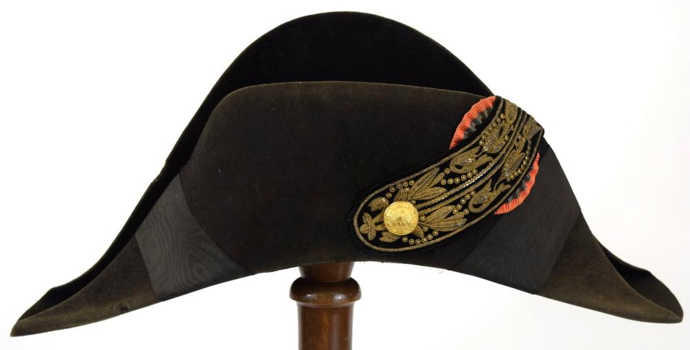"""19th C. French Military Officer's """"Chapeau"""" Hat Helmet with Gold Threading"""