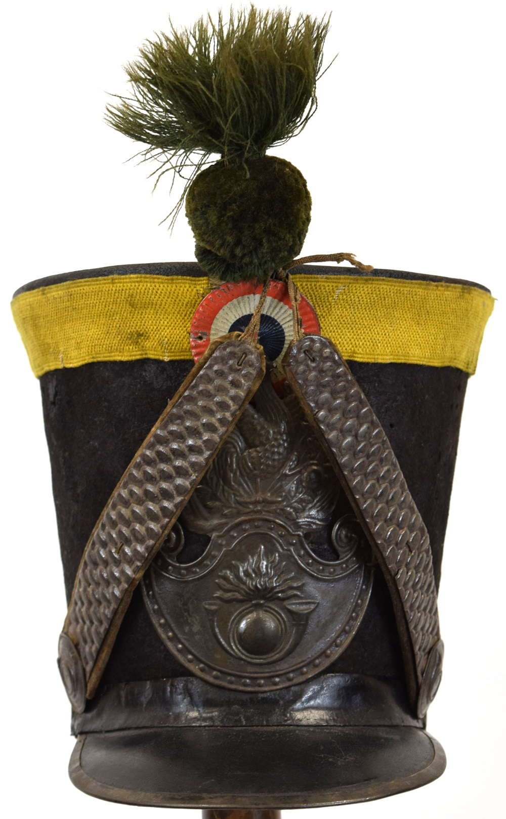 French 19th C. Military Officer's Shako Hat (Helmet) with Silver mounts