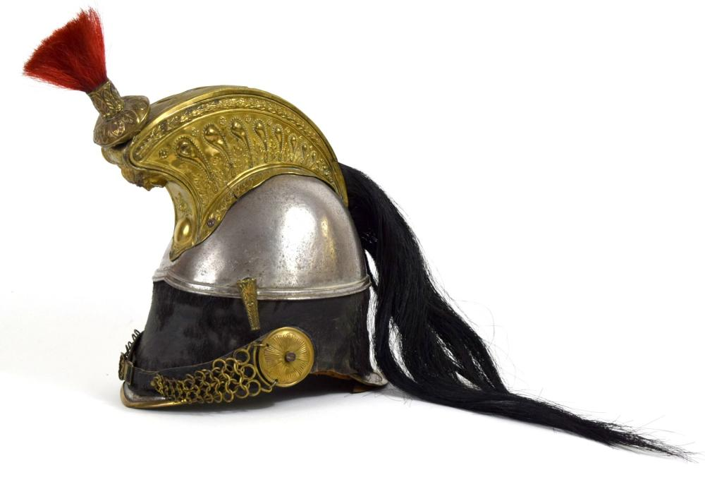 Impressive 1830s French Cuirassier Officer's Helmet with Horse Hair Mounts