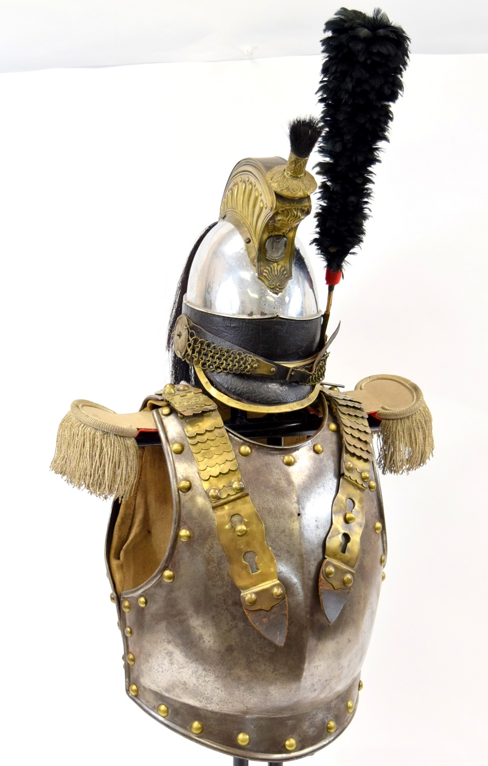 Circa 1830s Complete French Cuirassier or Dragoon Officers Cuirass & Helmet with Unusual Regimental Badge