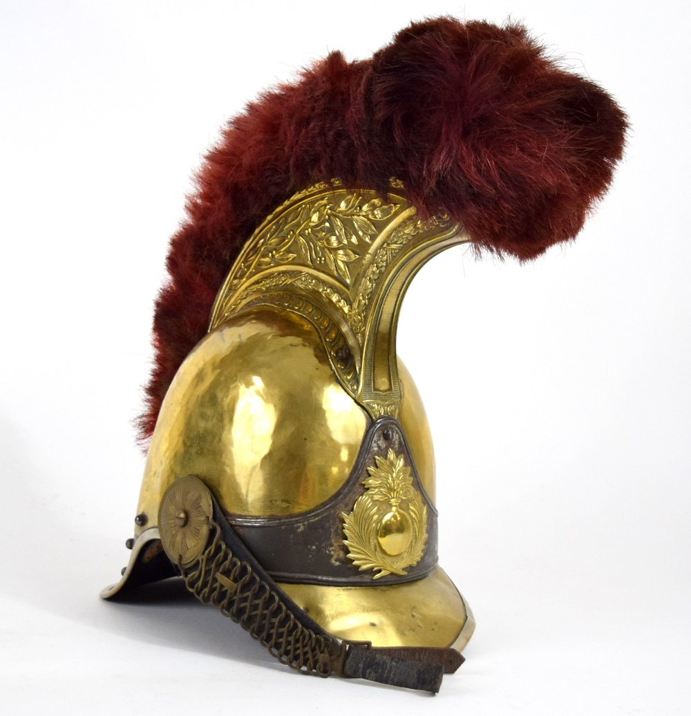 Very Handsome 19th C. French Grenadier Officer's Helmet, Dated 1855