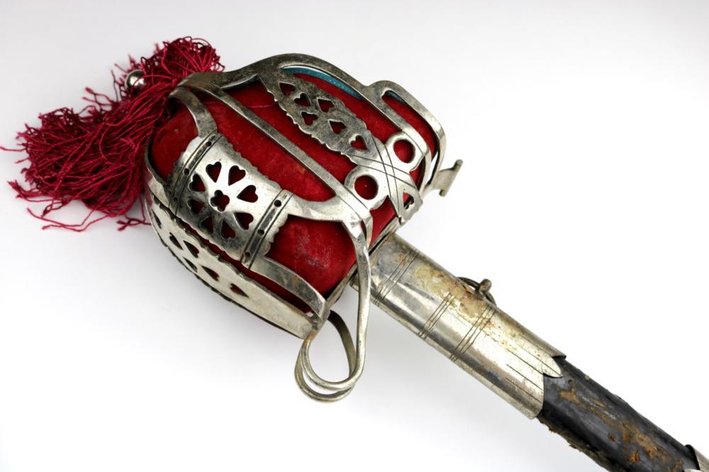 English Scottish Officer's Basket Hilt Broad Sword, Circa Victorian era to WW I