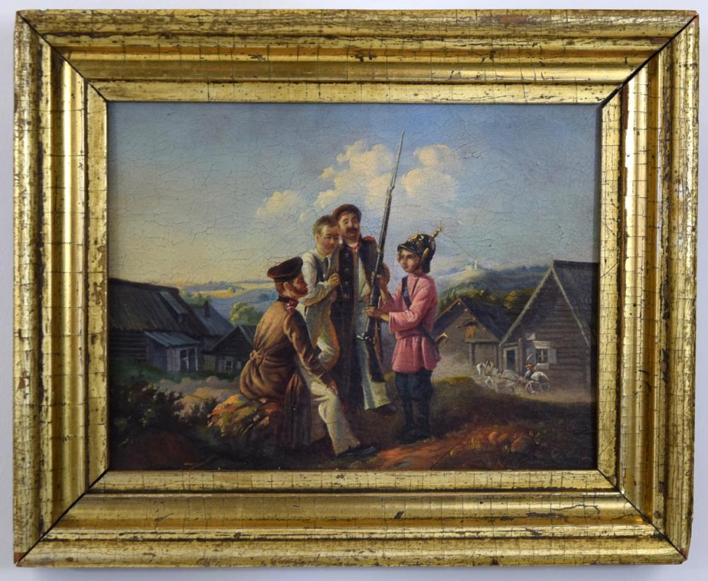 Lovely Quality 19th C. Russian Imperial Military Oil on Board Painting of Soldiers and Children