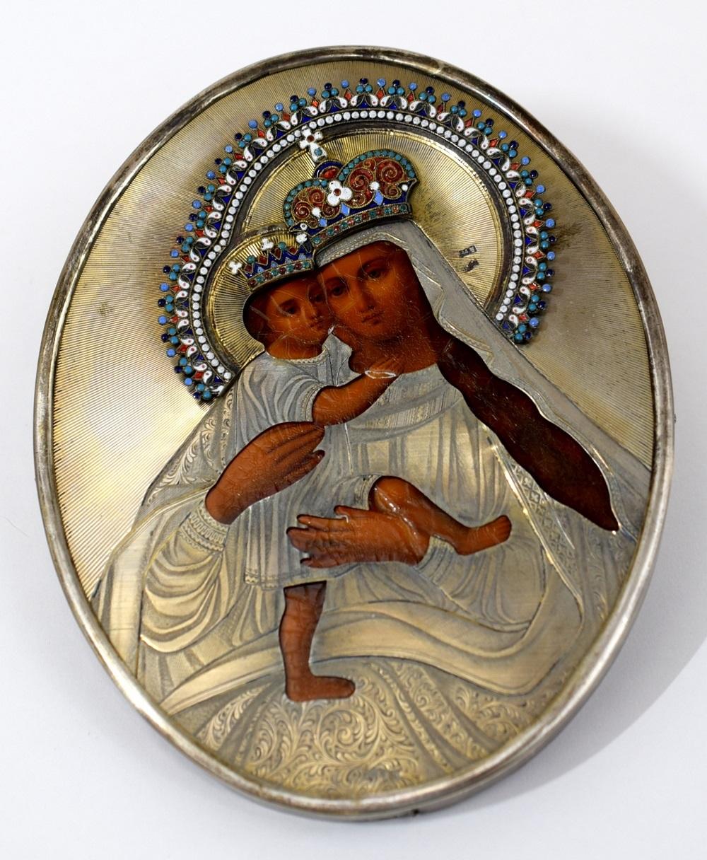 Rare Fine Russian 19th Century Round Icon