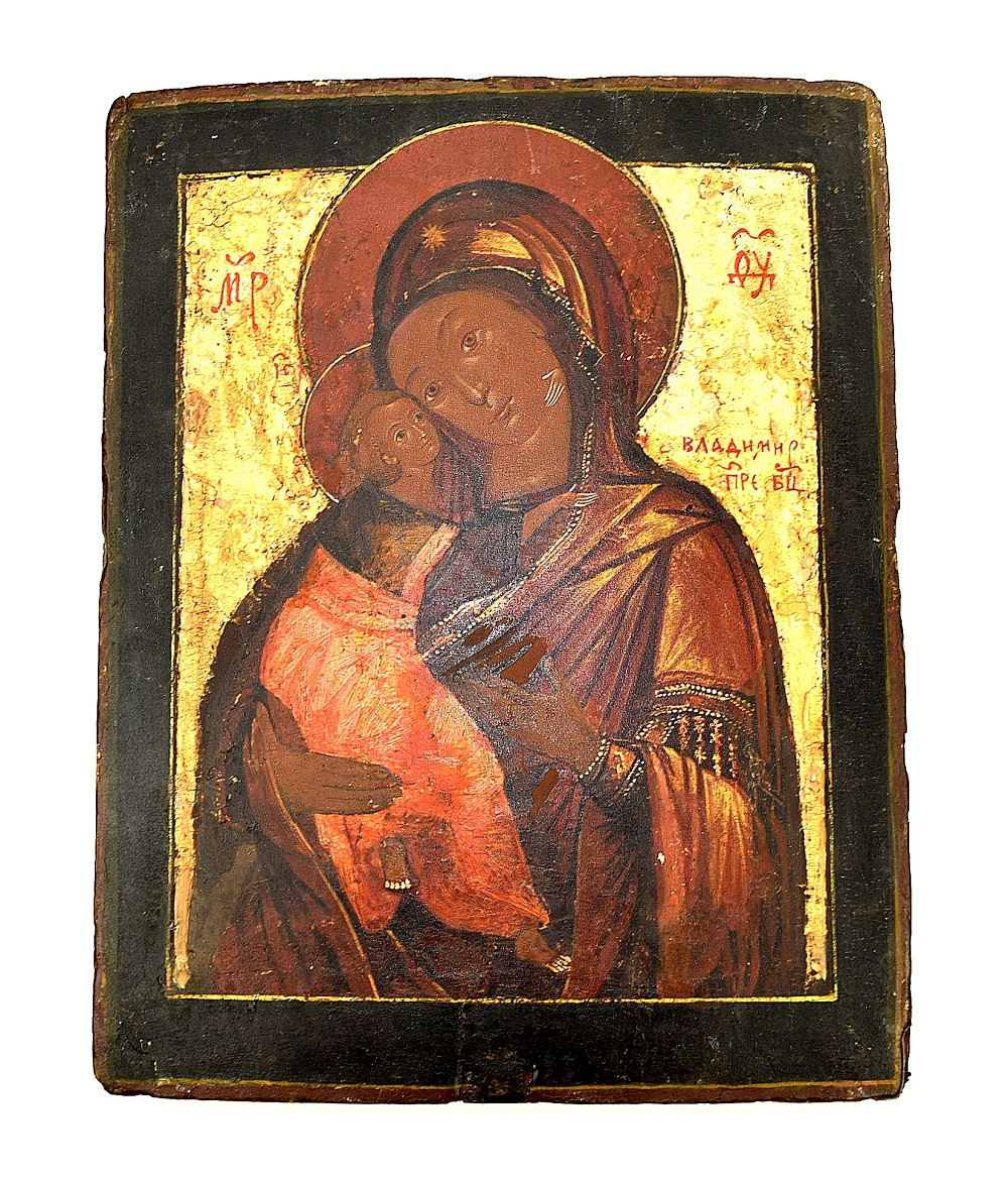 Russian 18th Century Mother of God Vladimir Slays Icon