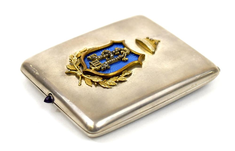 A Russian Faberge gem set silver cigarette case