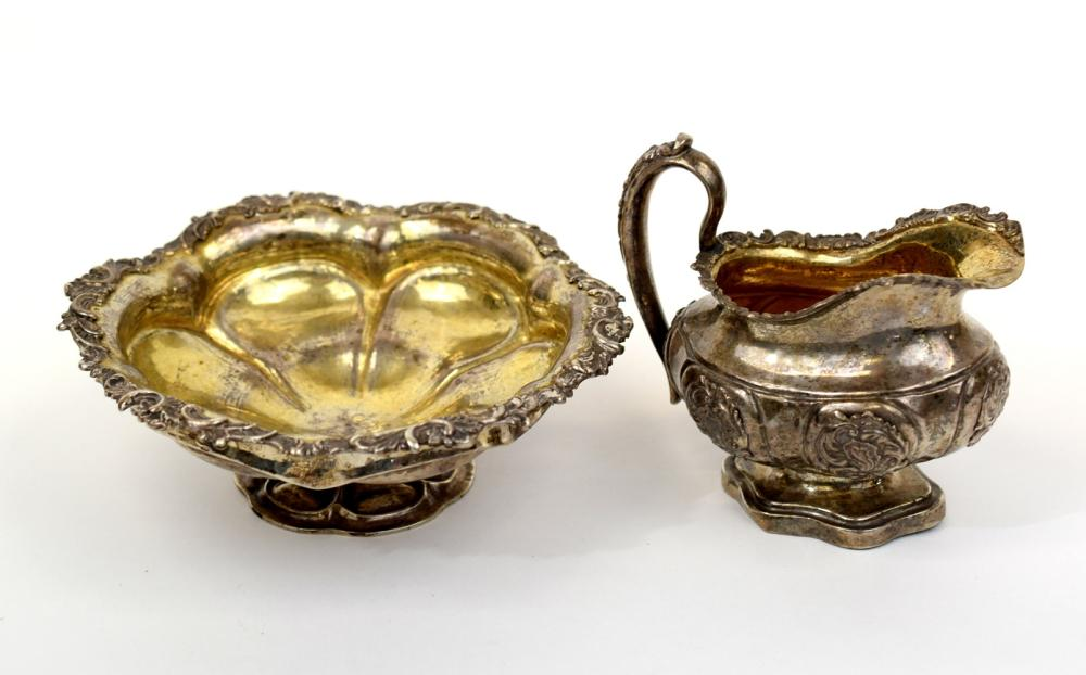 Russian Silver Footed Bowl and Cream Jug