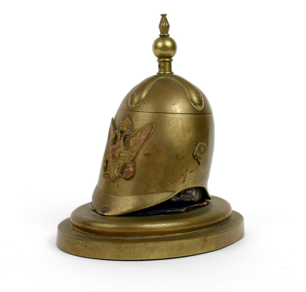 Russian inkwell in a form and shape of cuirassier helmet