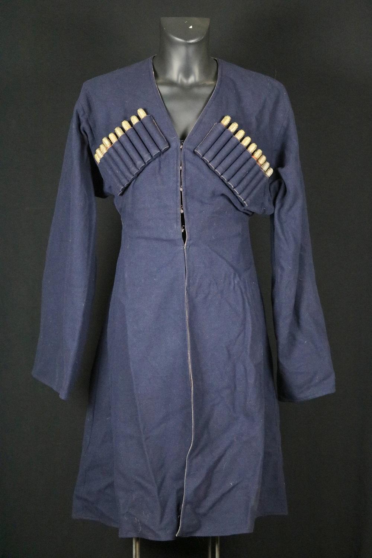 Russian Imperial Caucasian Military CHOKHA (Cherkeska) Cossack Soldier's Dress Uniform, with Gilt Silver mounted Powder Cartridg